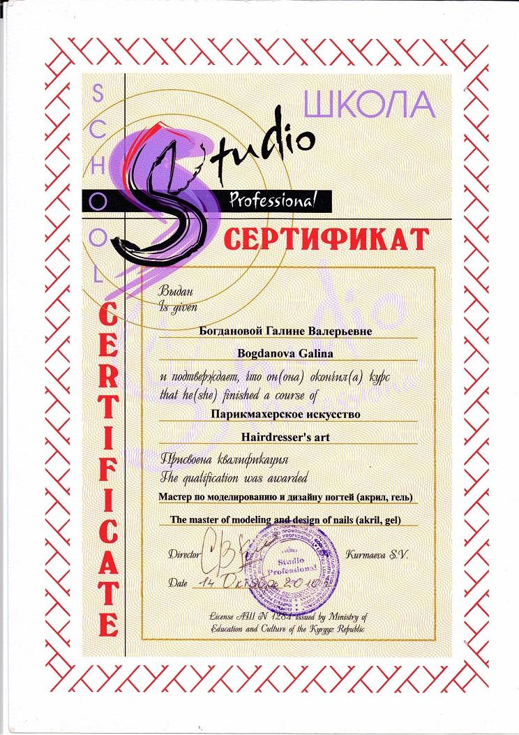 2010 сертификат обучение по моделированию и дизайну ногтей (акрил, гель)