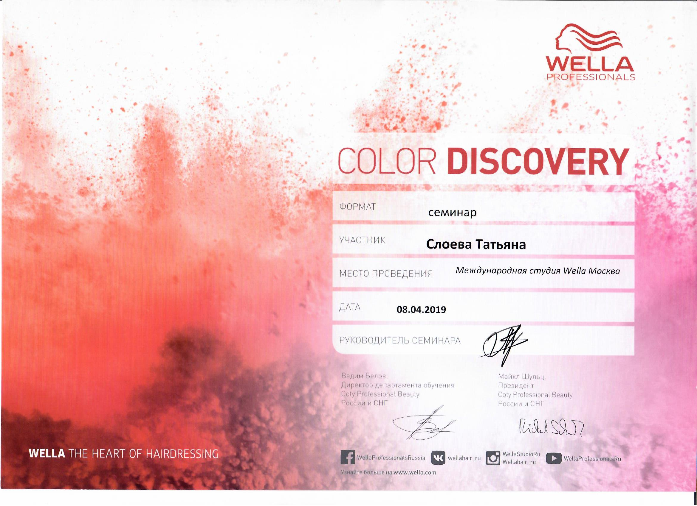 2019 color discovery wella