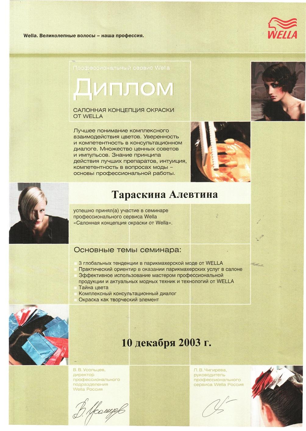 2003 салонная концепция окраски от Wella