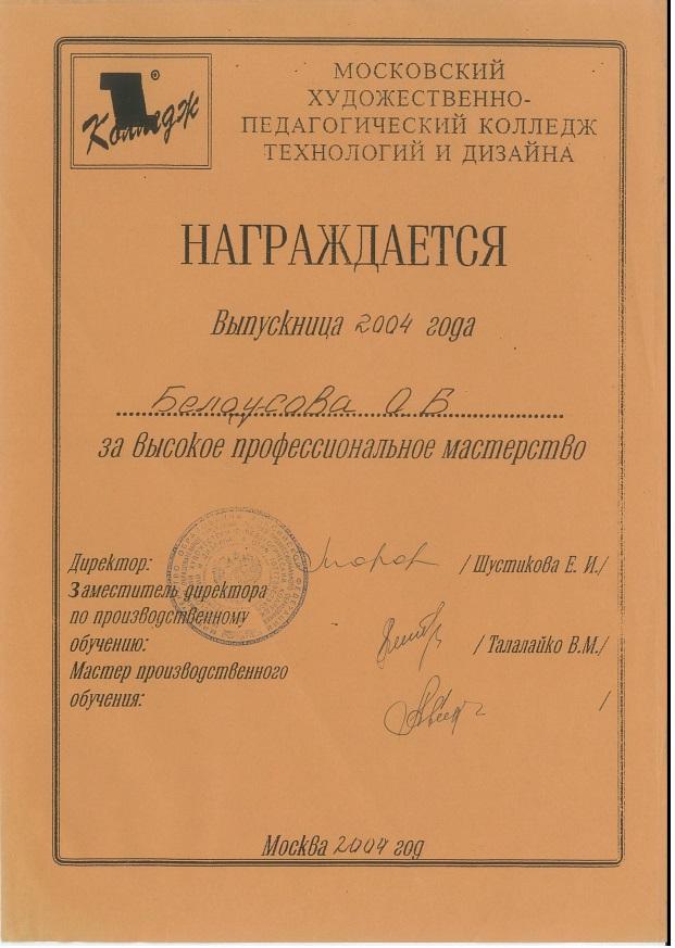2004, Московский художественно-педагогический колледж технологий и дизайна, Диплом за высокое профессиональное мастерство