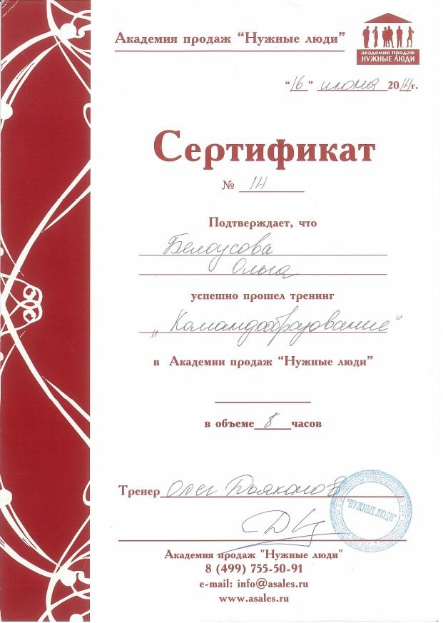 """2014, Академия продаж """"Нужные люди"""", тренинг """"Командообразование"""""""