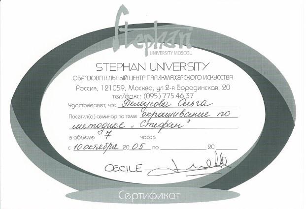 """2005, Образовательный центр парикмахерского искусства STEPHAN UNIVERSITY """"Окрашивание по методике Стефан"""""""