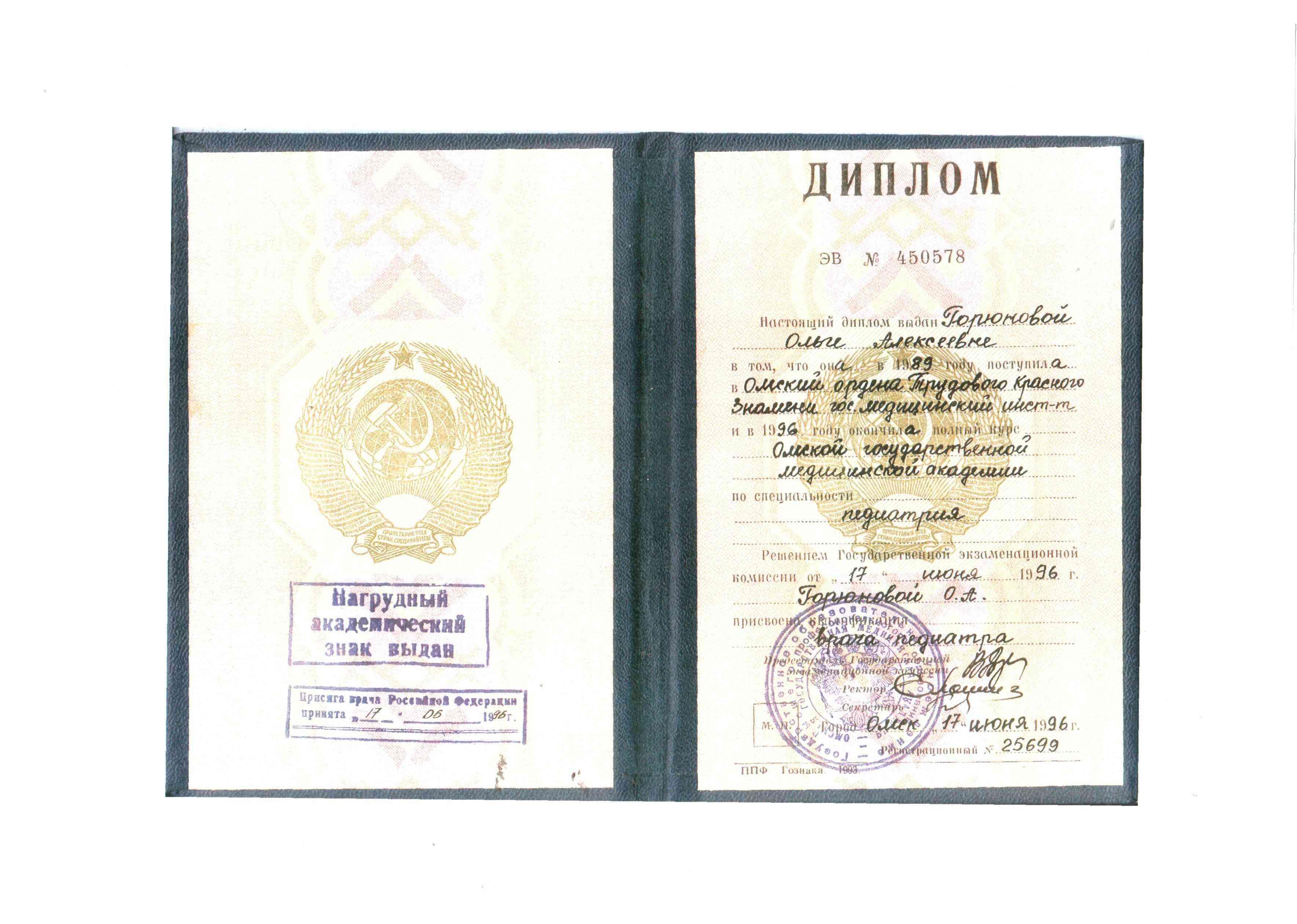 1996 диплом
