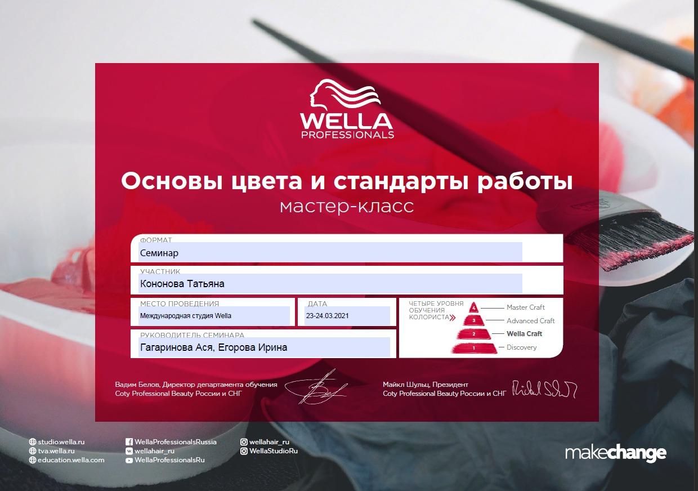 2021, Семинар Основы цвета и стандарты работы, Международная студия WELLA