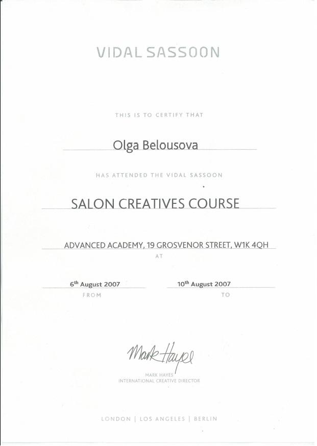 "2007, VIDAL SASSOON ""Salon Creatives Course"""