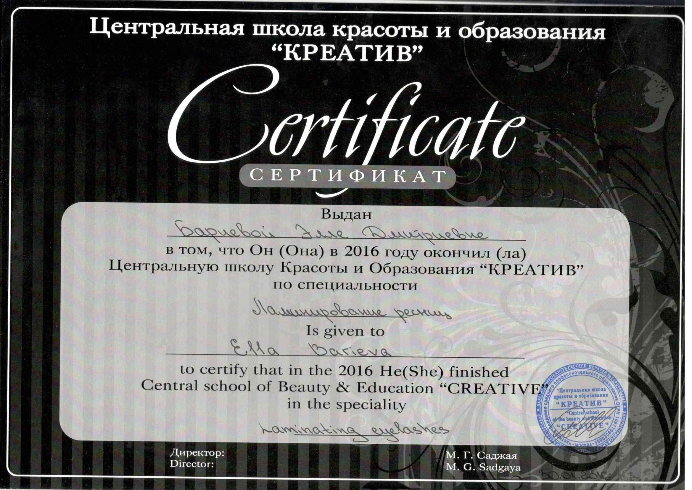 2016 Обучение по специализации Ламинирование ресниц