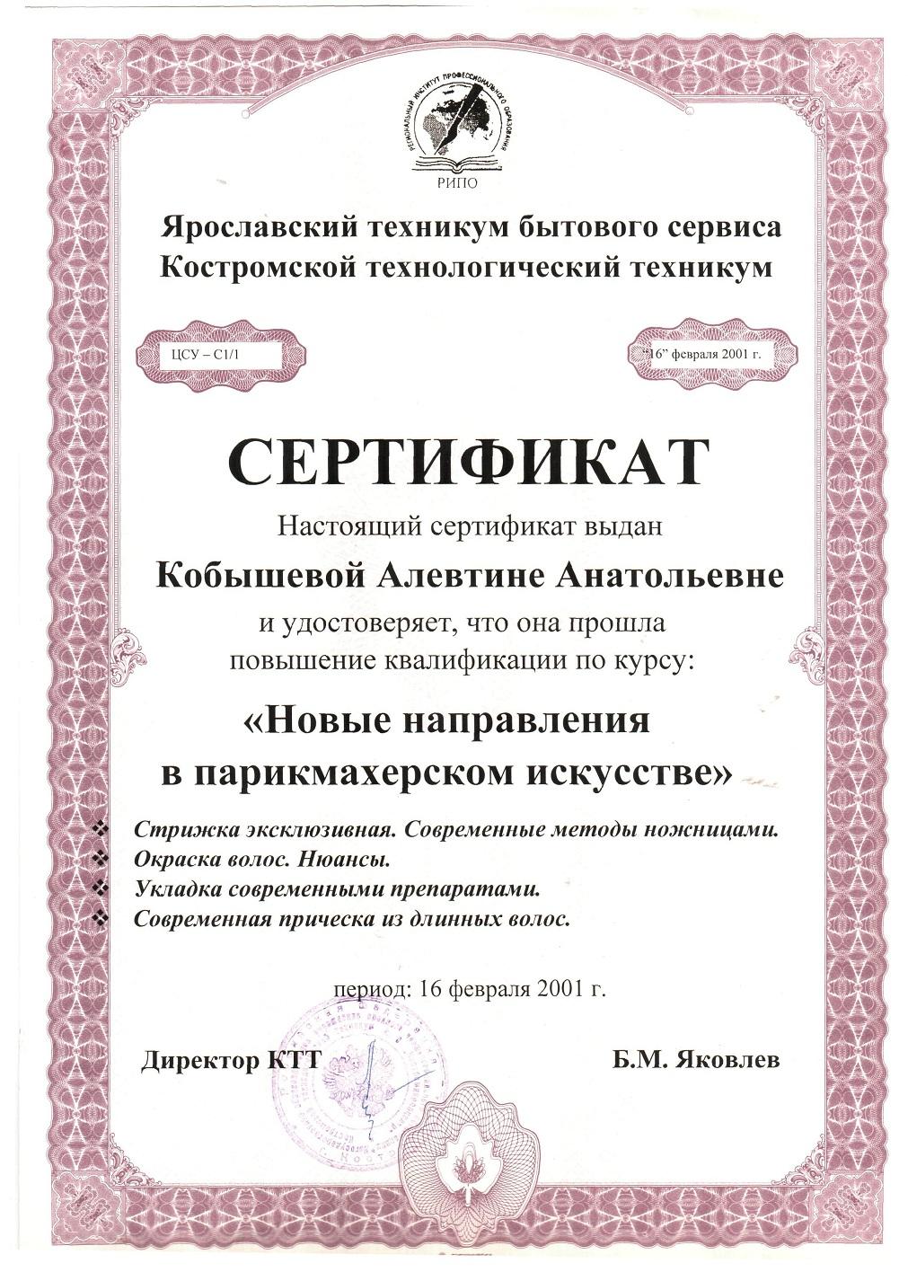 2001 повышение квалификации Новые направления в парикмахерском искусстве
