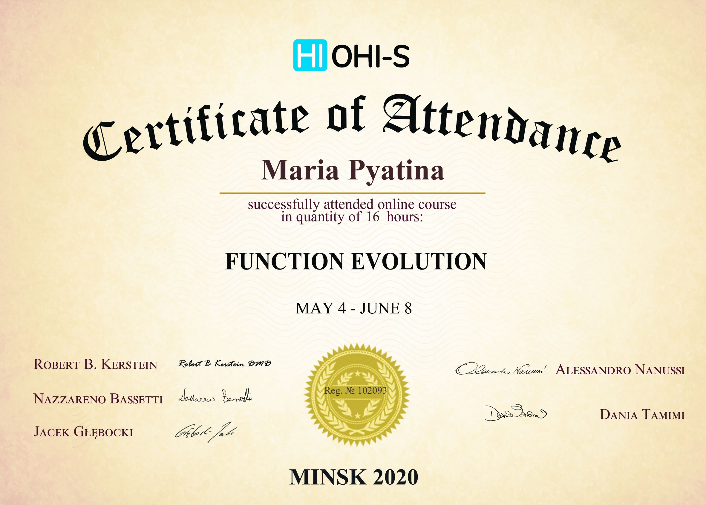 2020, HI OHI-S, Minsk